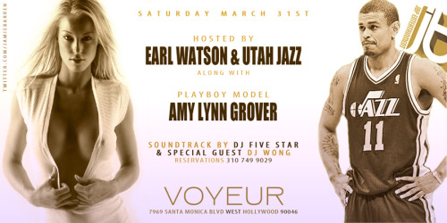 Jamie Barren presents Voyeur LA Saturday March 31 2012 Hosted by EARL WATSON and UTAH JAZZ along with Playboy Model AMY LYNN GROVER (www.modelmayhem.com/amylynngrover) Music by Dj Five Star w/ special performances by The Voyeur Mistressesand guest DJ WONG. TABLES+RSVP 310-749-9029 / http://www.twitter.com/jamiebarren 7969 Santa Monica Blvd, West Hollywood, CA 90046 - Always slam packed and tables soldout every Saturday at Voyeur with sexiness and celebs galore!