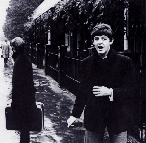 thegilly:  SCAN - Ringo and Paul outside London Zoo. The Beatles sometimes ate in the zoo's cafeteria since it is near Abbey Road Studios and quiet during the winter months. Photo by Robert Freeman