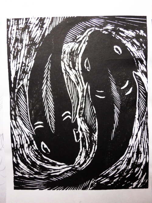 did this in my woodblock printing class! i really loved carving out the water, it was funnn. i have big plans for the rest of the semester~ >D