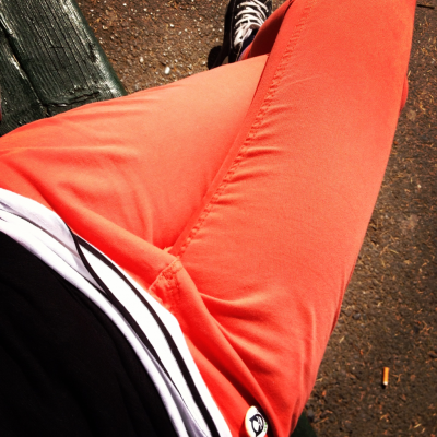 Orange, black, white.