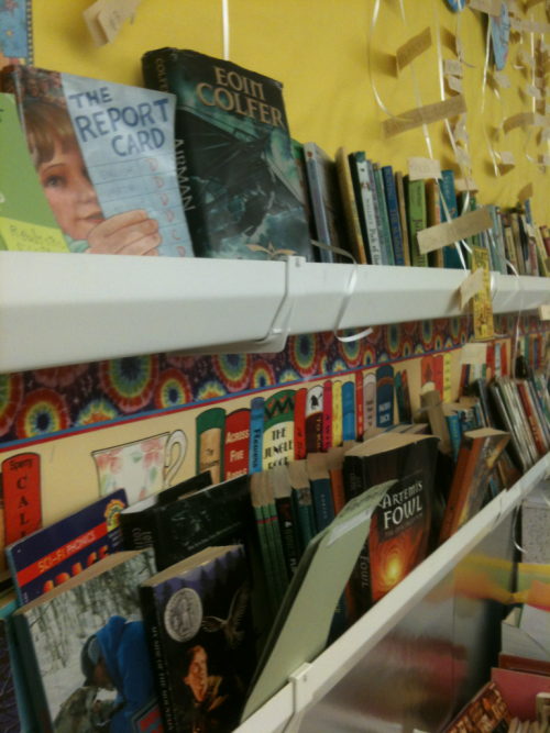 Genius idea in my long term sub room! Using gutters as book shelves for the classroom library. Neat, convenient, and out of the way. Win!