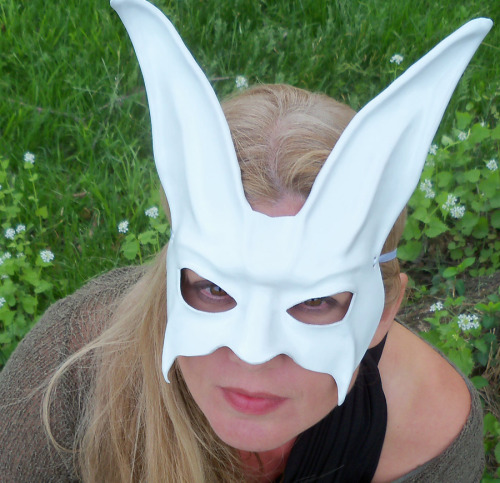 White Rabbit Leather Mask by Caroline Guyer of www.teonova.etsy.com photo by Elizabeth Sheehy Teonova Leather Masks feature hand crafted leather masks…as seen in commercials (Absolut Greyhound for Absolut Vodka is a recent one), on TV, in music videos…and worn by folks across the globe. Attention to detail and quality craftsmanship makes them suitable to display in your home as little pieces of art that you can also wear. Perfect for Halloween, Mardi Gras, Carnivale, renaissance faires, costume events, masquerade balls, props, ballet costumes, theater costumes, opera costumes, masked balls, theme weddings, for fun… www.teonova.com