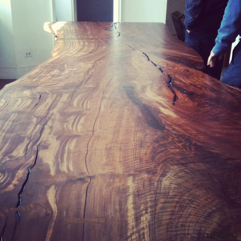 A magnificently figured claro walnut Milo Base slab, 12' long.  Off to its new home in Arizona.