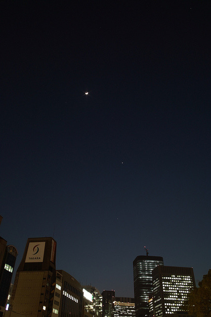 Jupiter, Venus and the Crescent Moon. on Flickr.