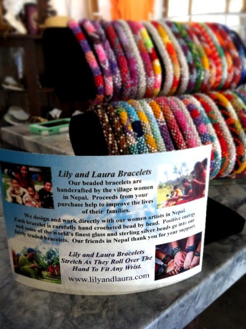 Lily and Laura bracelets are not only fashionable and fun, but also support a great cause!  The artists in Nepal use the finest glass and sterling silver beads to custom design each individual bracelet.  I love knowing their business focus is to pay more-than-fair trade wages to the Nepalese artisans thereby improving the quality of life! I picked up a couple fun color combos at Maude.. $12 each or 3 for $30!