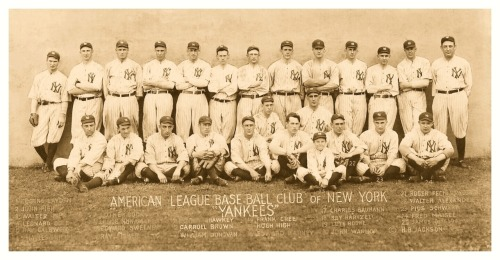 1915 New York Yankees Team An often told tale is that the Yankees switched their uniforms to pinstripes to cover the girth of the newly acquired Babe Ruth in 1920 (who wasn't even that heavy…well not yet). That is purely a false myth, as evidenced by the use of Yankee pinstripes five years earlier here in 1915.
