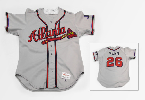 atlantahistorycenter:  FROM THE COLLECTION- This Atlanta Braves jersey belonged to pitcher Alejandro Pena. The jersey was donated to the Atlanta History Center by the Atlanta Braves in 1991.   It's like the Internet is trying to tell me something about The South today.