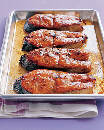 Salmon Steaks with Hoisin Glaze … less than 30 minutes to yum! Make!!