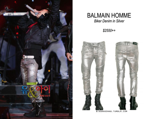 credit: SBS You&I x Balmain GD was wearing BALMAIN HOMME Biker Denim in Silver at the SBS You and I. The price is unknown because it's no where to be found, but the female version of this denim is around $2500, and it's a regular denim so I bet the silver one must be more expensive.