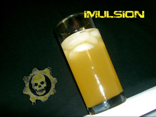Imulsion (Gears of War cocktail) Ingredients:1.5 oz. gold rum3/4 oz. triple sec6 oz. NOS Energy DrinkDirections: Mix the rum and triple sec in glass a highball glass.  Add in Energy drink and chill with ice.  Kill hoards of Lambent and Locust at will! Drink created and photographed by Eddie Strickland.