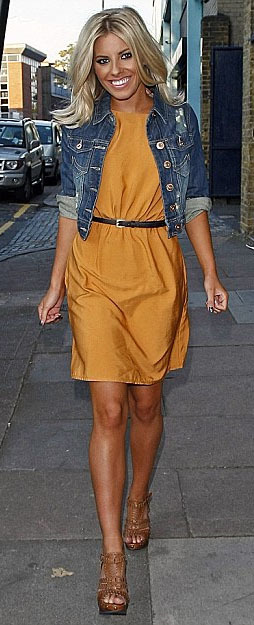 Crop Denim Jacket, $29.80  Mollie King  Is rocking this crop denim jacket over her dress for a more casual look.