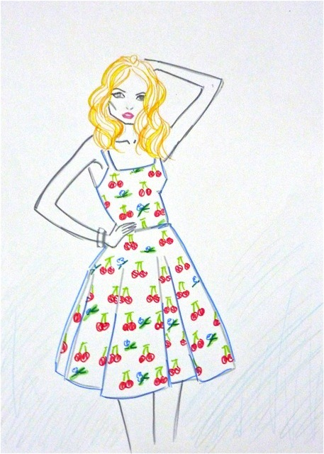 the sundress is the point at which little cherries and blue flowers becomes no longer absurdly juvenile, but cute. Yeah the weather was blue blue beautiful today. Sundresses on my mind.