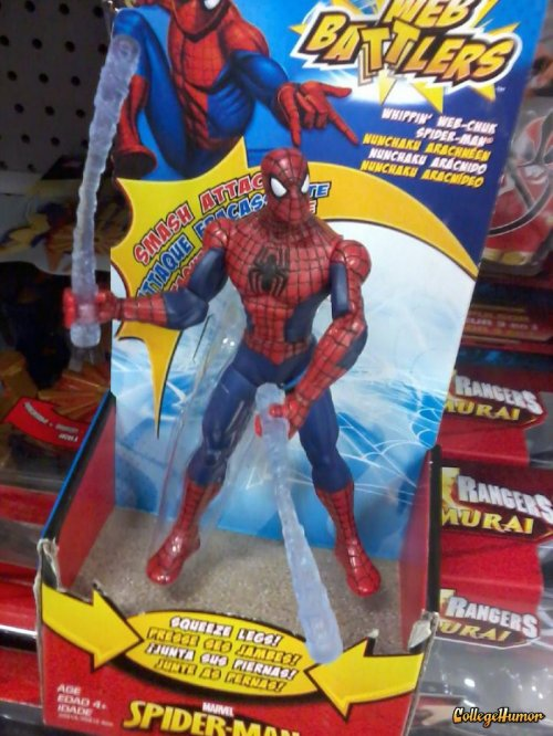 collegehumor:   Spider-Man Toy Looks Inappropriate   It's just web fluid, I swear!