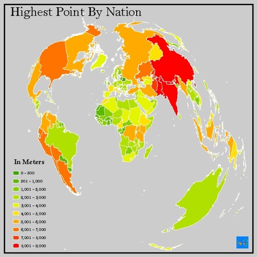This map is of the highest point per country.    The map is a projected coordinate system of the world called Polyconic (sphere).  The data is from worldatlas.com