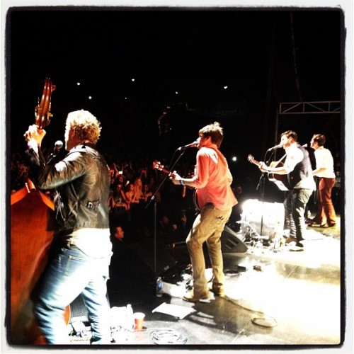 Mumford & Sons perform at SXSW in Austin, Texas after the second screening of Big Easy Express on March 17, 2012. Photo courtesy of Ryan Gall.