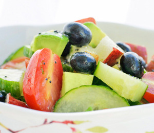 findvegan:  Fruit Salad: Pear, Blueberry, Cucumber & Tomato