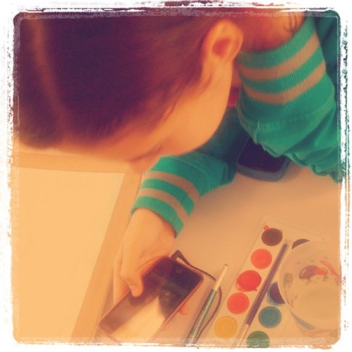 #graphicdesign #colors #painting #girl #iPod #watercolor  (Taken with Instagram at Universidad Anáhuac Cancún)