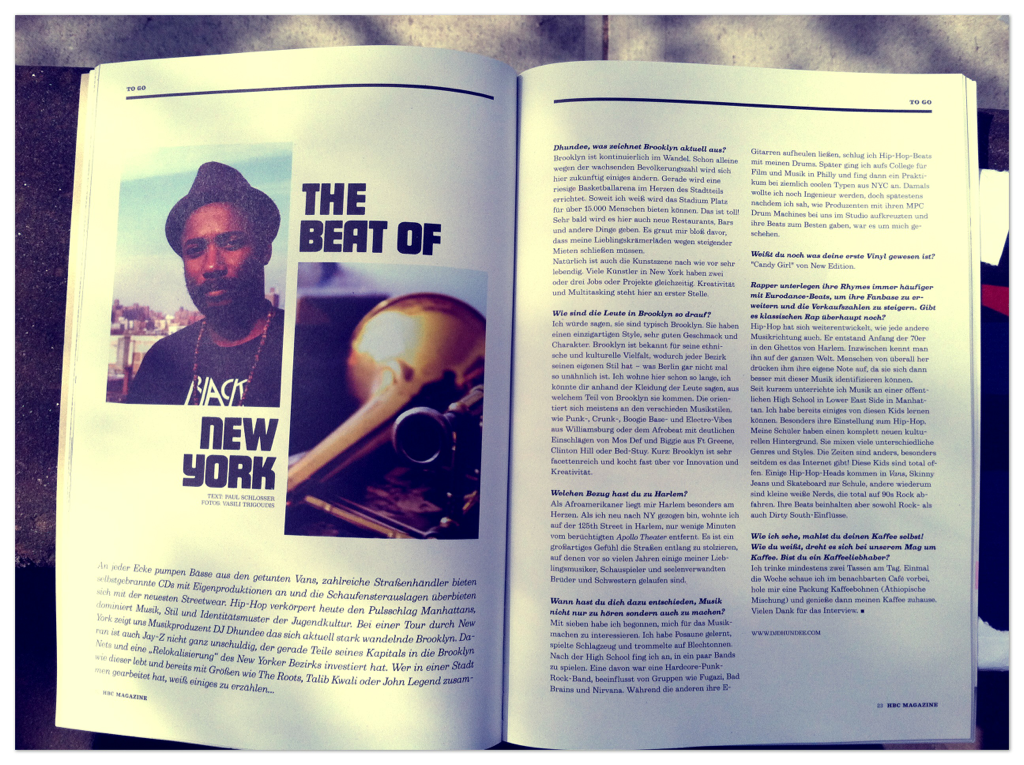 Fresh outta the mailbox. New mag outta Berlin interviews me about nyc n music also article w/ @jazzanova n more.