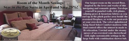 Our most extravagant room at 25% off at www.scarboroughfairbandb.com!