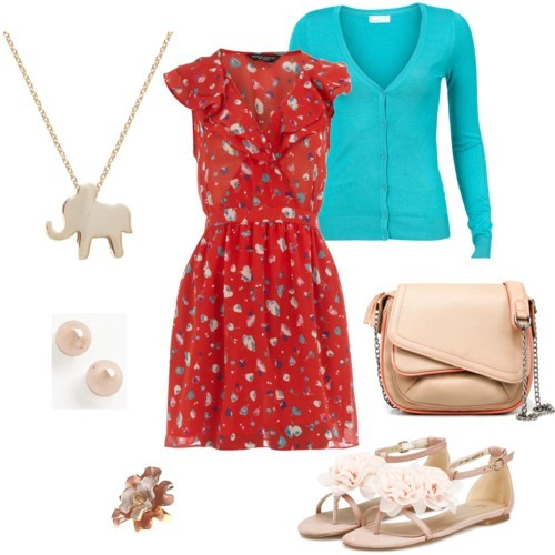 Walking dress by junifish featuring a red tunic