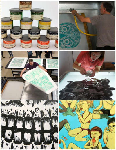 INKSLINGERS @ Vermillion Editions, Amarillo, TX - A collective of printmakers were invited to Vermillion Editions in Amarillo, Texas (Feb. 5 - 7) to make as many giant lithographs as possible in 3 days. Billed as the 'Inkslingers' they were invited to the newly relocated Vermillion Editions Ltd. specifically to make prints on the German-made Maylander offset press. Video here.