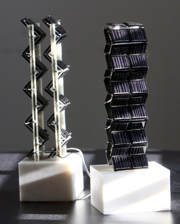 laboratoryequipment:  3D Design More Than Doubles Solar PowerIntensive research around the world has focused on improving the performance of solar photovoltaic cells and bringing down their cost. But very little attention has been paid to the best ways of arranging those cells, which are typically placed flat on a rooftop or other surface, or sometimes attached to motorized structures that keep the cells pointed toward the sun as it crosses the sky.Now, a team of MIT researchers has come up with a very different approach: building cubes or towers that extend the solar cells upward in 3D configurations. Amazingly, the results from the structures they've tested show power output ranging from double to more than 20 times that of fixed flat panels with the same base area.Read more: http://www.laboratoryequipment.com/news-3D-Design-More-Than-Doubles-Generation-of-Solar-Power-032812.aspx