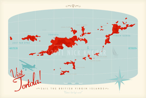 British Virgin Islands Map on Etsy