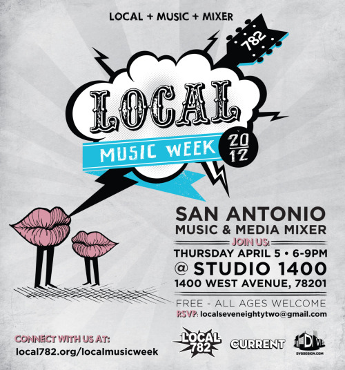 Mark your calendars. Next Thursday, April 5, Local 782 presents the San Antonio Music and Media Mixer. We are calling ALL MEMBERS OF THE SAN ANTONIO MUSIC COMMUNITY, whether you make music, work with musicians, or are an overall supporter of the vast San Antonio music arena, to join us for an evening of socializing with your peers. We at Local 782 believe that all members are important and that through unity, we co-create a strong future. If you feel like we do, then please come out and help us spread the word. The SAMMM will take place inside Studio 1400 (1400 West Avenue) from 6-9pm on Thursday, April 5. The event is FREE and open to all ages with food from local eateries including Green Vegetarian and for those of legal drinking age, beverages from SOAH Tequila and El Perrito Tequila. Bring your promo materials!!!