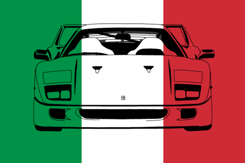 daswauto:  Ferrari F40 with an Italian flag background.