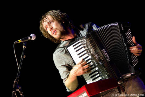 Ben Lovett of Mumford & Sons performs in New Orleans on the final stop of the Railroad Revival Tour on April 27, 2011. Photo copyright Jimmy Grotting.