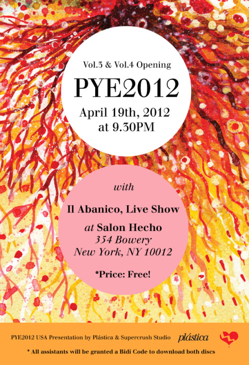 "Supercrush Studio & Plástica Presents: The ""Solo Dame Indie Pop!"" PYE2012 NYC Dance Parties! WHEN: APRIL 19th, 2012 9:00PM - 2:00AM   WHERE: SALON HECHO               354 BOWERY               NEW YORK, NY   HOW TO GET THERE: B,D,F,M TRAIN TO BROADWAY/LAFAYETTE AVE., 6 TRAIN TO ASTOR PL., N,R TRAIN TO 8TH STREET/NYU   ADMISSION: FREE   DJ SETS   DJ SON & POST-PAINT BOY (SOLO DAME INDIE POP! DJS) www.facebook.com/SoloDameIndiePop   LIVE SHOW   IL ABANICO - https://www.facebook.com/ilabanico — Facebook Invite April 7th - https://www.facebook.com/events/364433126931032/"