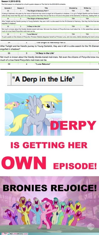 phoenixtales:  typicalbrony:  prodigious-dezi:  DERPY IS GETTING HER OWN EPISODE.    This is faker than a 2 dollar bill. Don't buy into it.   ^ This