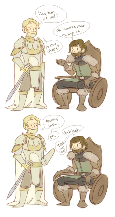 ybee:  so someone on my dash was talking about Jaime and Bran being bros but now I can't find it maybe I imagined it well I thought it was funny so I drew it