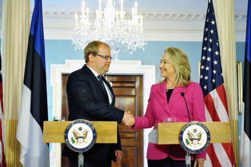 U.S. Secretary of State Hillary Rodham Clinton meets with Estonian Foreign Minister Urmas Paet at the U.S. Department of State in Washington, D.C., on March 27, 2012. You can watch the video here and read the remarks here.