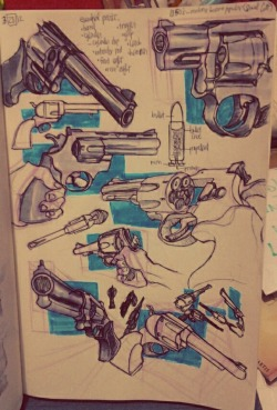 revolvers revisited That previous page with craphounds made me realize how much I need to draw these guns in more angles. I first studied revolvers on this page from my previous sketchbook: