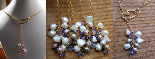 odinsbeadhall:  And finally, the bridesmaid pieces. Made in  a lariat style with a hammered golden heart, freshwater pearls, and purple crystals. Also made a shorter version for the flower girls. Hope she likes them! ^^ Want a custom bridal set of your own? Feel free to contact me!