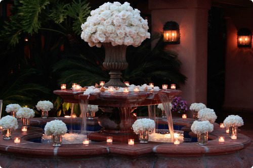 fountain flower decoration and tealights