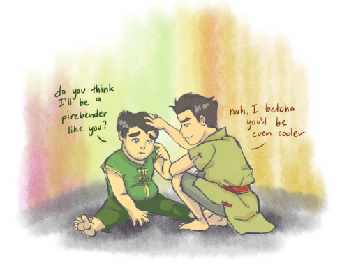 "elfgrove:  forever-makorra:   ""What if I'm not a bender?"" Bolin whined miserably. ""Don't be silly, of course you're a bender,"" Mako groaned, not for the first time. ""Bu-but what if I'm noooot?""  Mako was about to shush his little brother again but Bolin had started to cry. The younger boy sniffled and pouted, tears streaming down his cheeks steadily. ""Come on, Bolin, stop that,"" Mako said, but all harshness had left his tone. He bent towards his brother and patted him on the head tenderly. ""Your bending just hasn't woken up yet. Remember that lady who told us that happens sometimes?"" Bolin nodded, a tiny sob escaping him. ""See, you don't need to worry. Besides, a big and strong guy like you? Of course you're a bender."" ""Do you think I'll be a firebender like you?"" Bolin hiccuped, wiping his tears away. Mako grinned at him and shook his head. ""Nah, I betcha you'd be even cooler.""  Late Bloomer by ~scarletsapphires  BABIESSSSSSSSSSSSSS~~~!!   KAJBGJKDLGBDFK LITTLE DARLING BABIES"