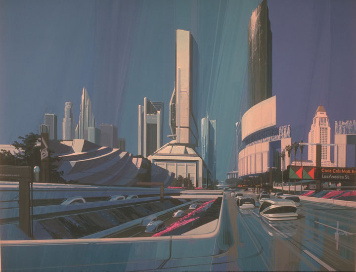 futurespaceart:  LA Skyline painting by artist Syd Mead. Mead has been involved in the design and visualization for films such as Blade Runner