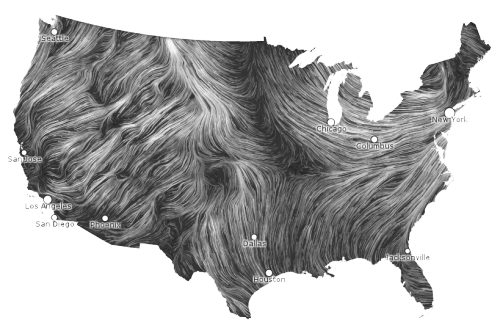 "jennhoney:  section9:  moderation:  guy:  The Wind Map shows ""… the delicate tracery of wind flowing over the US right now."" The animation looks like giant worms crawling over the US. /via   wind, I hate you.  See that spot in the middle where the wind from the gulf is meeting the wind from Canada? Don't live there.   wind, I'm really into you."