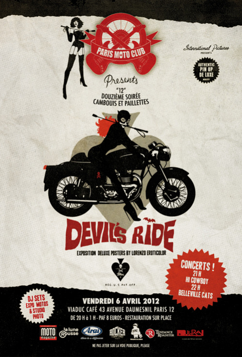 aristocraticmotorcyclist:  DEVIL'S RIDE PARTY by PARIS MOTO CLUB  exposition aristocratic motorcyclist le vendredi 6 avril Paris XIIe