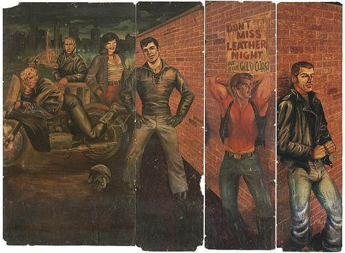 "LBGTQ* Art and Mural History Oil Painting Mural from Gold Coast bar, 1973, by Dom ""Etienne"" Orejudos. The Gold Coast bar opened in 1958, making Chicago the first city in the country to have a leather bar. from: www.chicagoist.com"