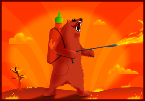 oatmeal:  Sriracha flamethrower + Grizzly Bear = this.  I now have fantasies about hiring this bear to burn my desk.