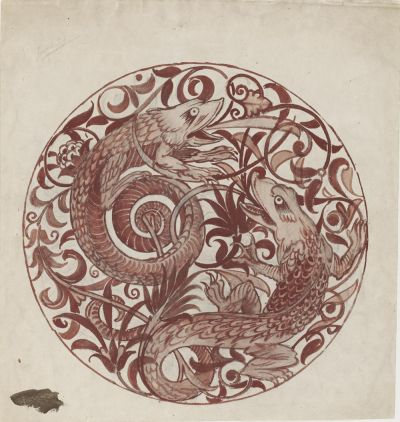 William de Morgan, Design for Decoration for a Lustre Dish (1879)