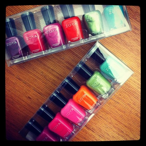 mynailsrock:  Zoya's Beach & Surf collection.  New Zoya!  I was so excited when this landed on my desk I can't even tell you!  Zoya has *TWO* amazing new collections for summer - The Beach and The Surf.  The Beach has these bright beautiful colors and The Surf is shimmery tones perfect for a night out.  I am sorry about my absence - just been really busy at work.  I promise I will get some nail art out to you all soon - especially to show off these amazing colors!!