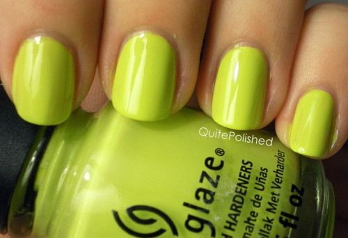 quitepolished:  China Glaze Electric Pineapple I picked up this color at Ulta in January because it was on clearance for $1.99 so I figured, why not? At the time I didn't have very many bright colors, and I didn't own any China Glaze either.  Electric Pineapple is part of the Summer 2011 Island Escape collection, which may be why it was on clearance. Or maybe no one wanted it. Or there was something wrong with it. Either way I like it. Electric Pineapple is a yellow-green creme and it can look more yellow or more green depending on the light. The formula was kind of thin and runny, so I needed to use three coats. I'm sure a coat of white polish underneath would have helped a lot though.  Overall I like this polish, its not *amazing*, but it's nice to have in my collection, and I've used it a few times with nail art already. Now that summer is coming up I'll probably be using it even more!