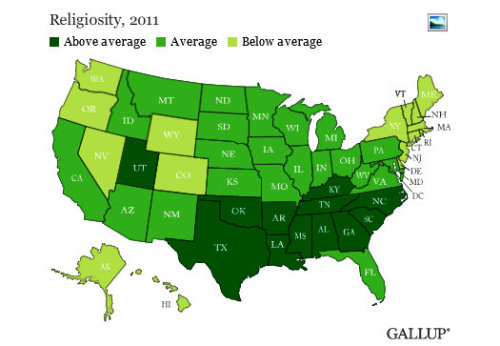 USA Map: Less Religion = More Gay Rights
