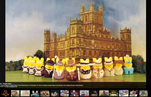 "Washington Post Peeps Diorama Contest semifinalist Peepton Abbey, everybody! (Your Tumblrer was told this Easter-candy diorama was the best existing ""encapsulation of you.""  We'll take it!) More WaPo peeps here. ""Peepton Abbey"" created by Caroline Chase, 27, Valerie Boyle, 25, and Daniel Boyle, 25, of Montclair, Virginia."