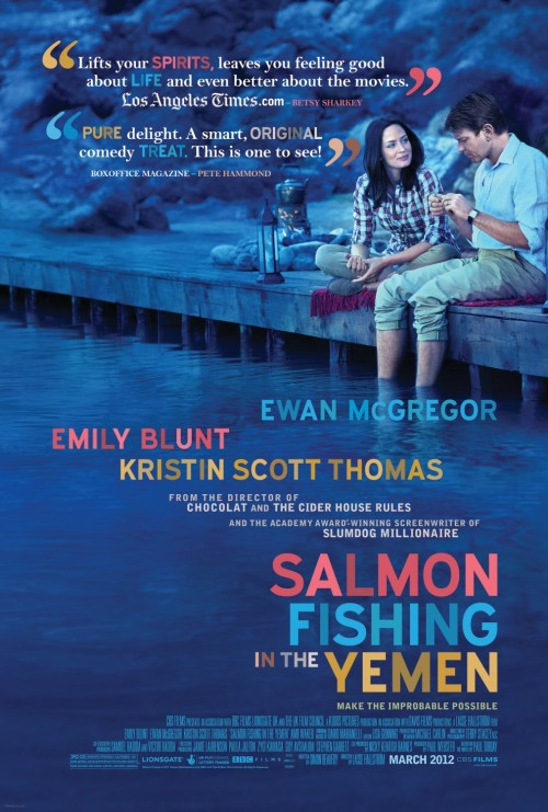 "A Briefly Brief Review of Salmon Fishing In the Yemen For those not familiar with the Arabian Peninsula, Saudi Arabia, or its surrounding parts, Salmon Fishing in the Yemen does not sound like an odd title for a movie. However, this area of the middle east is incredibly dry, hot, and has a very limited supply of drinkable (potable) water. Plants barely thrive in this environment, let alone seafood. There is an element of whimsy and wonderment in the title alone. Salmon Fishing In the Yemen.  Based on the 2006 best-selling book of the same title, it follows the story of a sheikh who wants to bring his favorite pastime to his native country. Sheikh Muhammed hires Harriet Chetwode-Talbot (played by Emily Blunt) to try to achieve this dream.This far fetched ambition is expediated by two elements: The sheikh's infinite bankroll and the British Prime minister's disire to divert the public's attention from the violence in the middle east. To help see this dream to fruition and map the plan out scientifically, she reaches out to renowned fisheries expert Dr. Alfred Jones played by Ewan McGregor. Blunt and McGregor's characters are experiencing some major changes in their lives: Jones is having marital and Chetwode-Talbot has started a relationship with a man that has gone overseas. This is combined with the fact that they are of course….developing feelings for one another. This movie has a lot of heart, wit and most importantly McGregor and Blunt chemistry. By the first 10 minutes or so, you realize that this script has enough moxie (yes moxie), to have you watching intently.The  supporting cast is strong with appearances from UK actors Kristin Scott Thomas and Tom Beard. Sheikh Muhammed, played by Amr Waked, is subtly charismatic and shows shades of a young Ben Kingsley. With all of that said, however, this movie is not without its flaws. The subplot in the second act to ruin salmon fishing in the Yemen is forced and unnecessary. Also, they could have splurged on some more money for reasonable green screening effects. There are portions of the movie, that seem to be done post shooting, where it's incredibly obvious that it was added on later on. There are scenes that don't seem to further the story and the movie could stand to lose 15 minutes. Salmon Fishing in the Yemen is worth checking out, even with the shoddy subplot and the bad green screen effects at some parts. It has all the sappiness that you would expect from trying to make a small miracle in the middle east occur with a beautiful mid 20 something and a charming ""a little too handsome to be in the medical field"" 40 something. It's out now. DIRECTOR: Lasse Hallström   SCREENWRITER: Simon Beaufoy (screenplay), Paul Torday (novel)  CAST: Amr Waked, Emily Blunt, Catherine Steadman, Kristin Scott Thomas, Ewan McGregor, Tom Beard RELEASE DATE: OUT NOW MPAA RATING: PG-13 Trailer:"