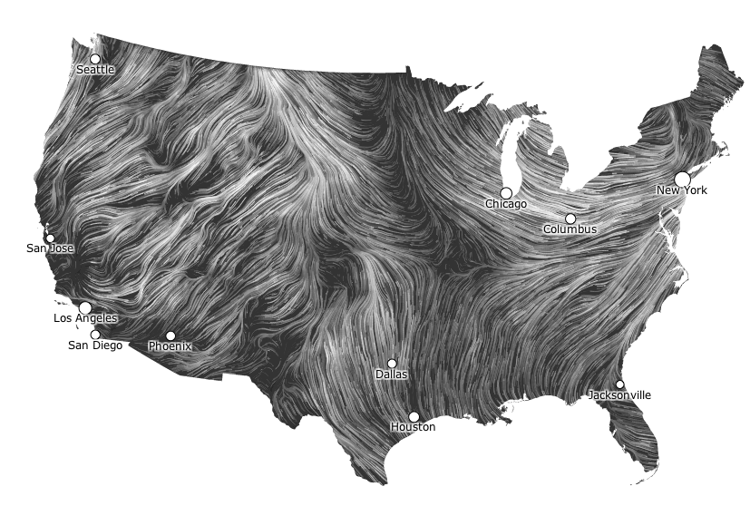 This map shows you the delicate tracery of wind flowing over the US right now.   Click through to see it in motion.